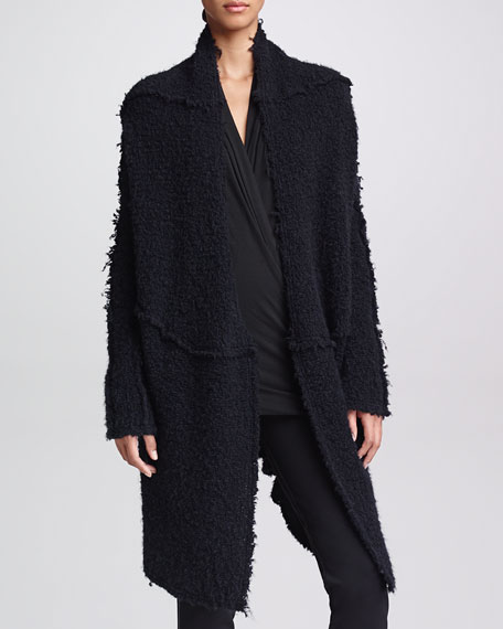 Cozy Convertible Boucle Jacket, Black