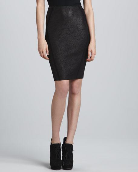 Seamed Pencil Skirt, Black