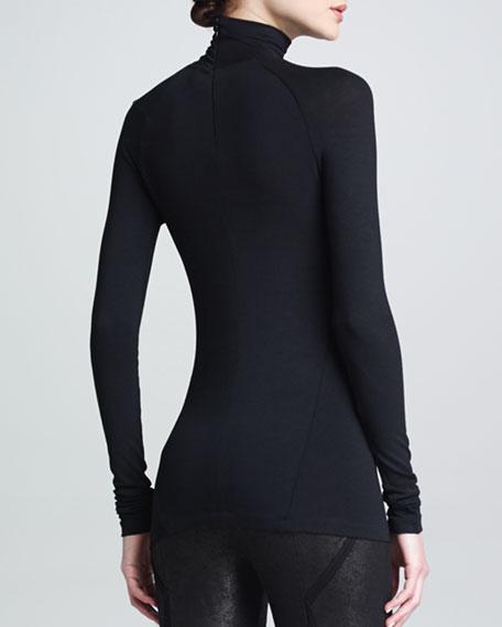 Shoulder Cutout Turtleneck Top