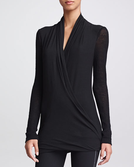 Double-Layer Jersey Tunic, Black