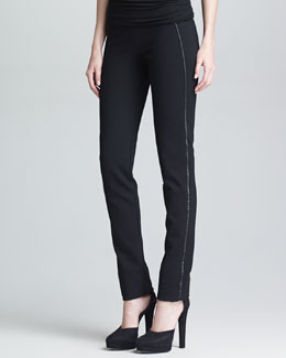 Donna Karan Slim Leather-Stripe Straight-Leg Pants, Black