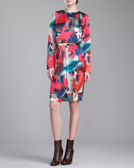 Bloom-Print Jewel-Neck Dress, Grenadine
