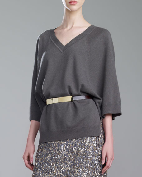 Cashmere V-Neck Dolman-Sleeve Sweater, Lichen