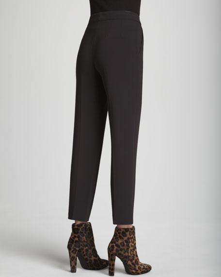 Emma Crepe Marocain Cropped Pants, Mahogany