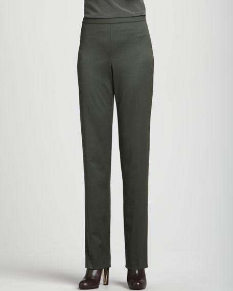 Venetian Wool Side-Zip Diana Pant, Loden