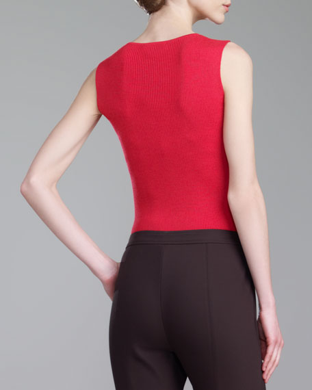 Rib-Knit Scoop-Neck Shell, Grenadine