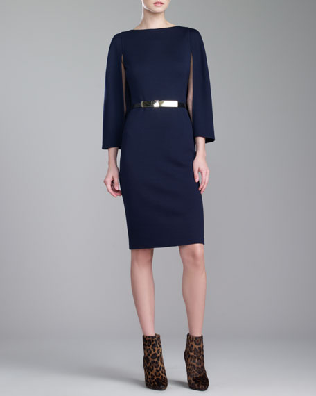 Milano Boat-Neck Cape-Sleeve Dress, Navy