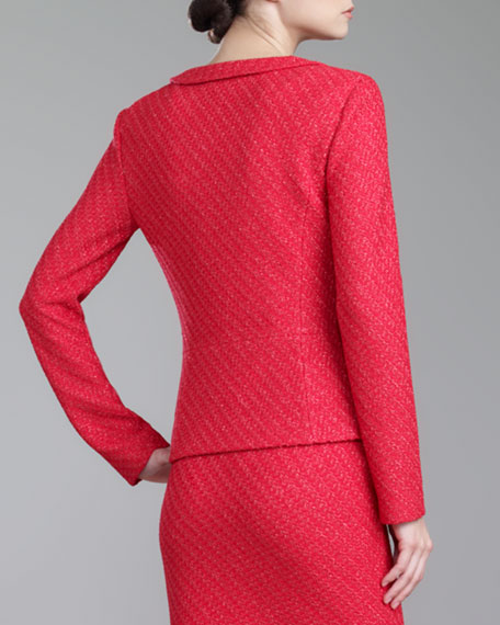 Diagonal Texture-Knit Blazer, Grenadine