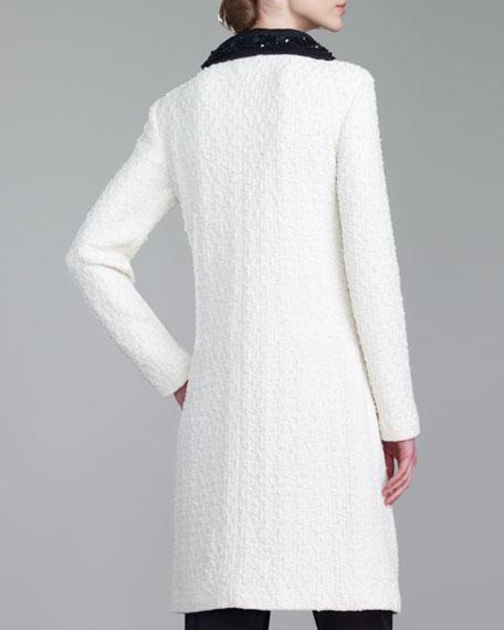 Tweed Knit Topper, Cream/Caviar