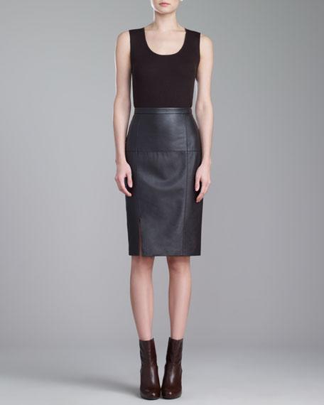 Soft Napa Leather Pencil Skirt, Mahogany