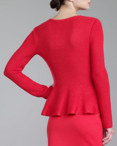 Jewel-Neck Peplum Shimmer Knit Sweater, Grenadine