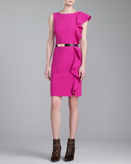 Crepe Ruffle Bateau-Neck Dress, Magenta