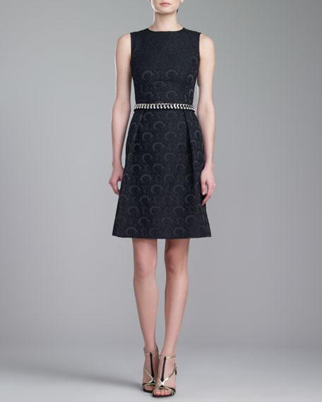 Jewel-Neck Brocade Dress, Caviar
