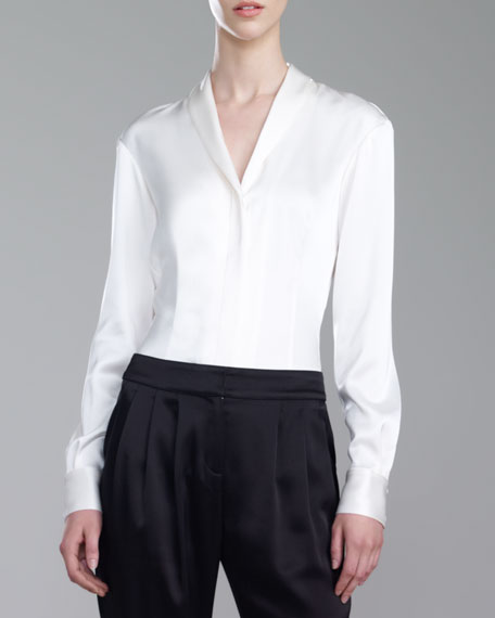 Satin Shawl-Collar Blouse, Cream