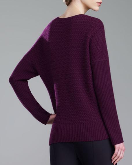 Cashmere Jewel-Neck Sweater, Magenta