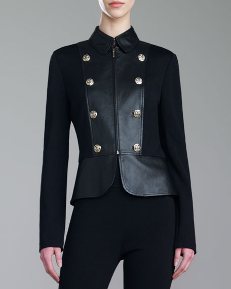 Leather and Milano Knit Military Jacket
