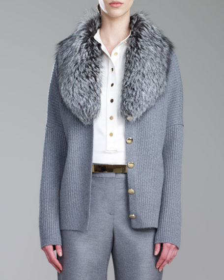 Fox-Collar Fisherman Cardigan, Gray