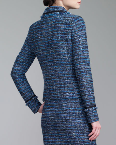 Couture Organza-Ribbon Jacket, Blue/Caviar/Multi