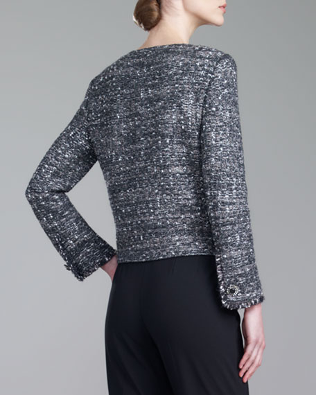 Tweed Knit Jacket, Caviar/Multi