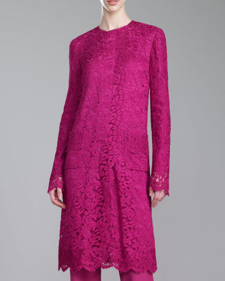 Plume Lace Jewel-Neck Jacket, Magenta
