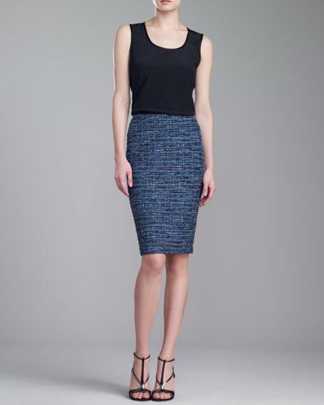 Couture Organza-Ribbon Pencil Skirt, Blue/Caviar/Multi