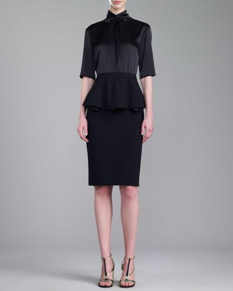 Crepe Marocain Fitted Peplum Skirt, Caviar