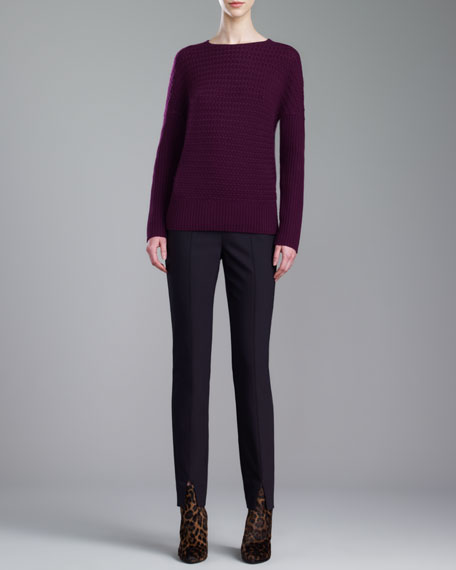 Alexa Scuba Bi-Stretch Pants, Caviar