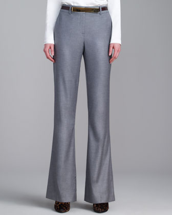 Annabel Stretch Shimmery Pants, Gray Melange
