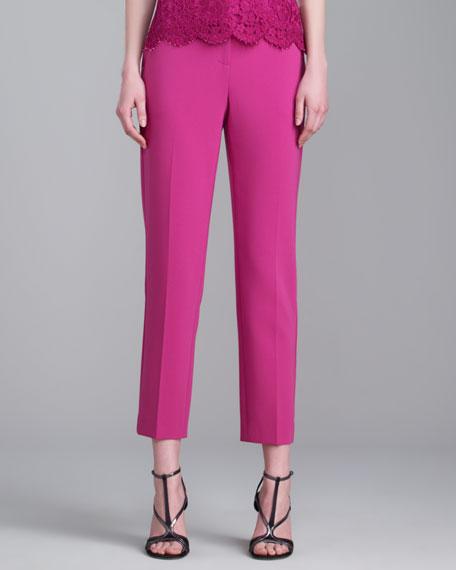 Emma Crepe Marocain Crop Pants, Magenta