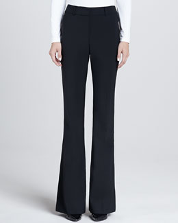 St. John Collection Modern Stretch Tropical Wool Narrow Bootleg Annabel Pants with Pockets