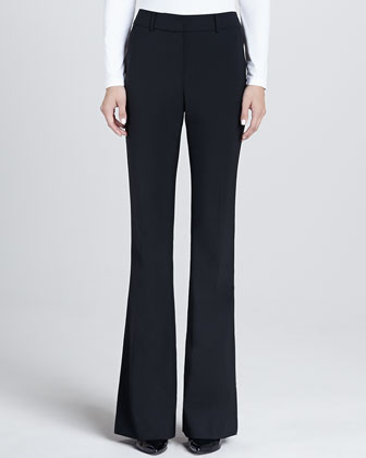 Modern Stretch Tropical Wool Narrow Bootleg Annabel Pants with Pockets