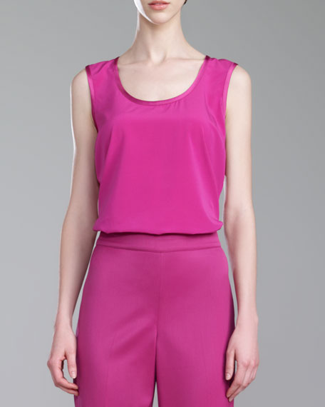 Stretch Silk Crepe de Chine Shell, Magenta