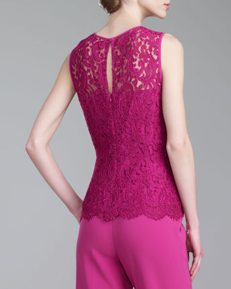 Plume Lace Jewel-Neck Top, Magenta