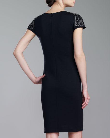 Milano Knit Beaded Bateau-Neck Dress, Caviar