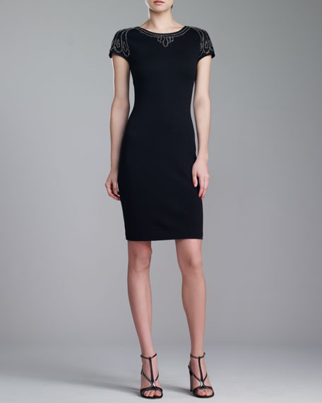 Milano Knit Beaded Bateau-Neck Dress, Caviar