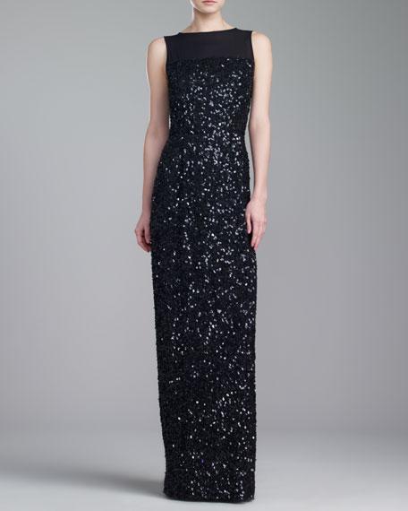 Hand Beaded Bateau-Neck Gown, Caviar