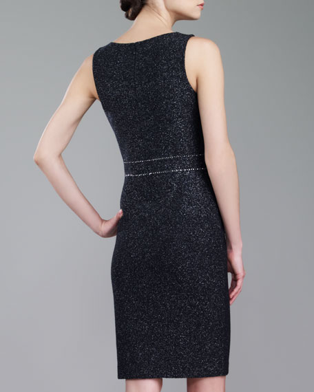 Couture Shimmer Tweed Dress, Caviar/Silver
