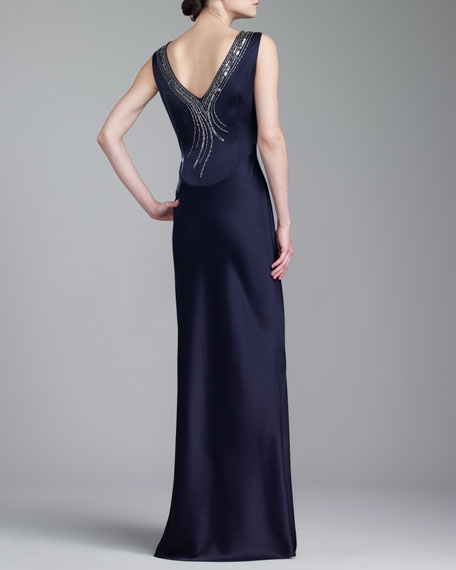 Bateau-Neck V-Back Gown, Navy