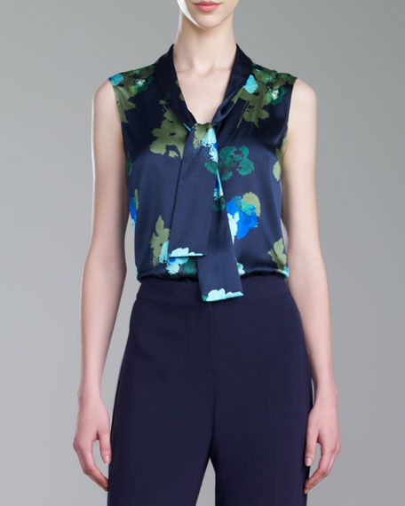 Vintage-Floral-Print Blouse, Navy/Multi