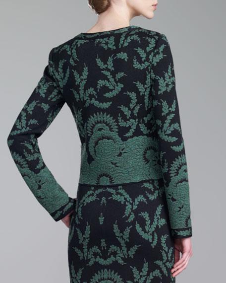 Plume Floral Brocade Jacket, Caviar/Green