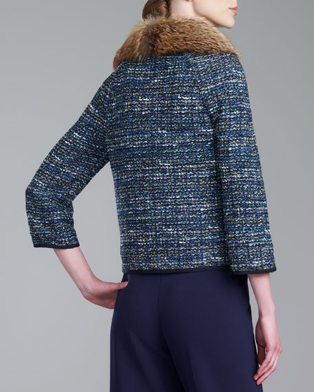 Fox-Collar Ribbon Tweed Jacket, Navy/Multi