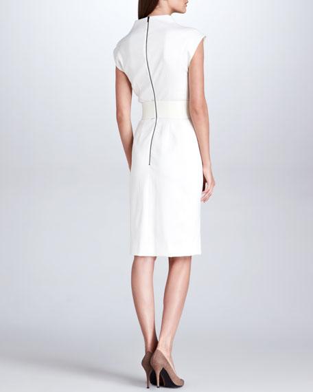 Leather-Trim Linear Wool Wrap Dress, Cream