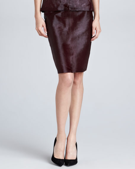Calf Hair Pencil Skirt, Burgundy