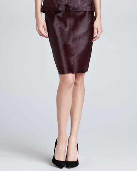 Calf Hair Pencil Skirt, Burgundy