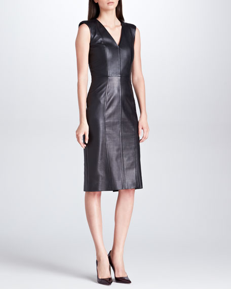 Princess-Seam Sleeveless Leather Dress, Black