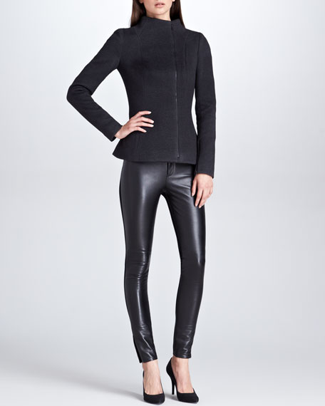 Leather-Front Pants, Black