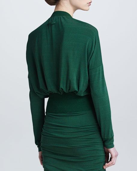 Drape-Neck Wool-Trim Jersey Top