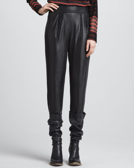 Pleated Pants with Wide Waistband