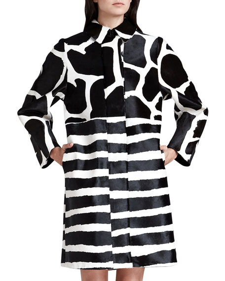 Neoprene Animal-Print Calf Hair Caban Coat