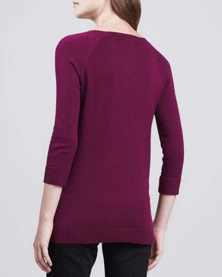 Cotton-Cashmere V-Neck Sweater, Damson Magenta